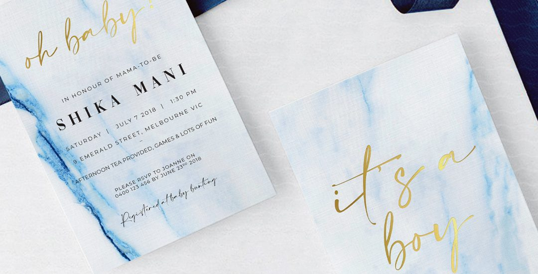 Natalie Pasnin Designs - Blue Marble, with Gold Foil Baby Shower Invitation Card