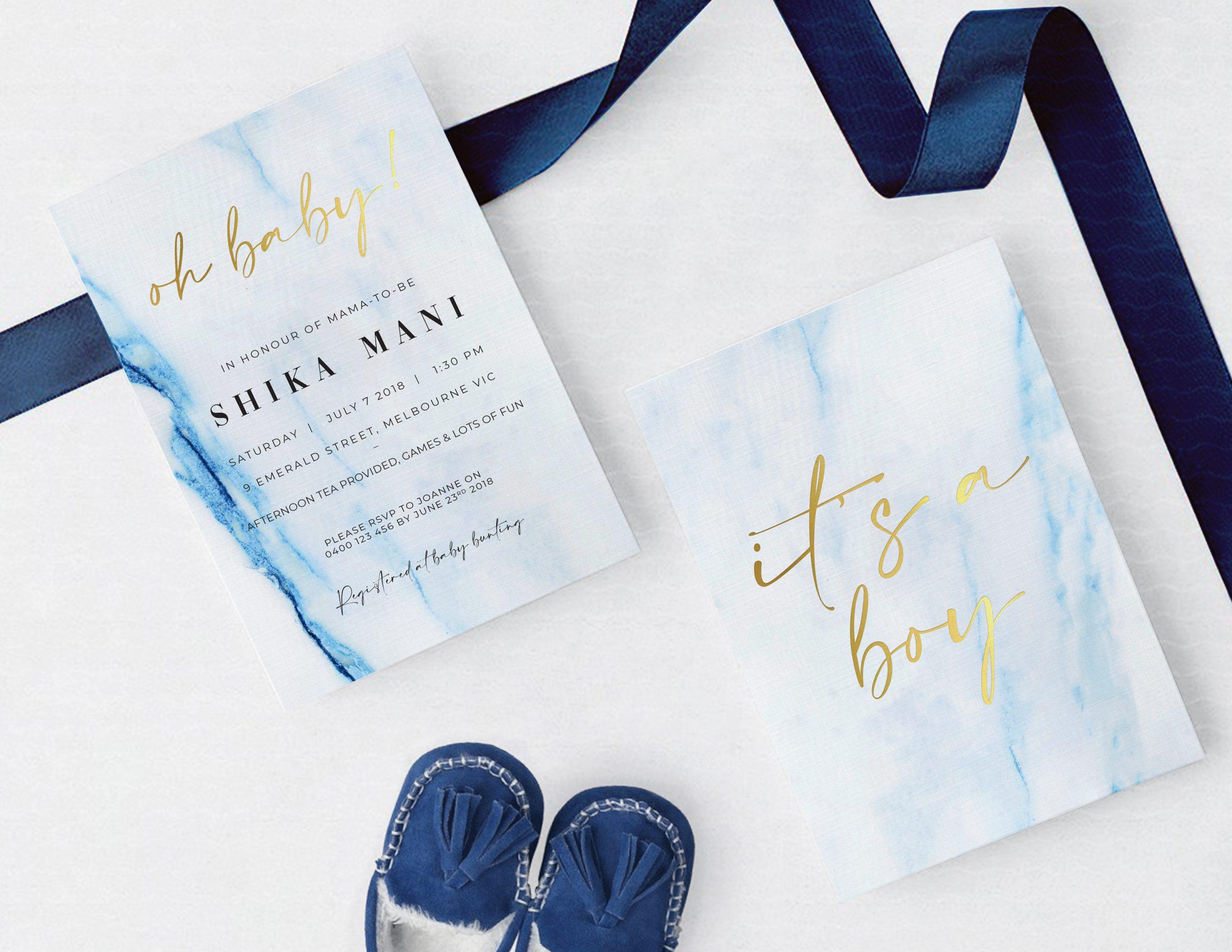Natalie Pasnin Designs - Blue Marble, with Gold Foil Baby Shower Invitation Card