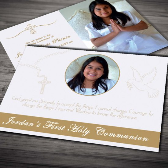 Natalie Pasnin Designs - First Communion Invitation Cards Gold