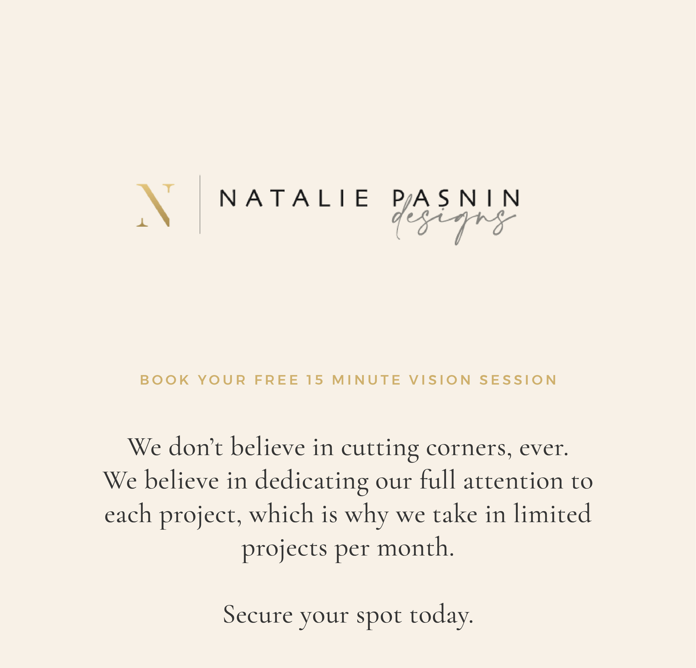 Natalie Pasnin Designs - Pop Up - Consultation Messaging